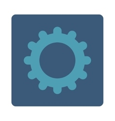 Gear flat cyan and blue colors rounded button vector image