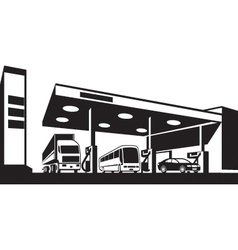Vehicles at gasoline station vector