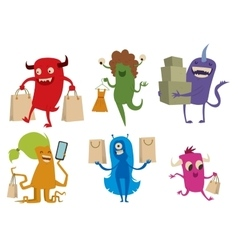 Cartoon cute monsters shopping vector image