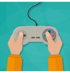 Hands holding gamepad vector image