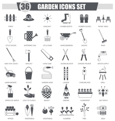 Garden black icon set dark grey classic vector