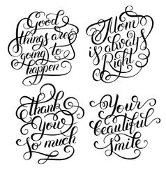 Black and white inspirational phrase set positive vector