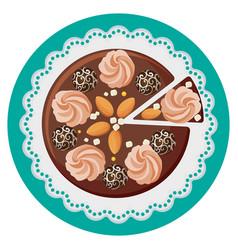 birthday cake with cream flowers chocolate balls vector image vector image