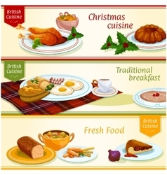 British cuisine traditional dishes banner set vector