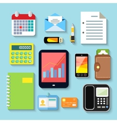 Business items and mobile devices vector image