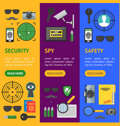 cartoon security and spy banner vecrtical set vector image vector image