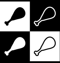 Chicken leg sign black and white icons vector