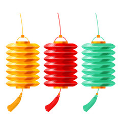 chinese paper lanterns set vector image vector image