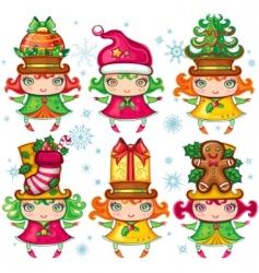 Christmas Santa helpers series vector image vector image