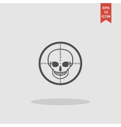 crosshair icon with a skull vector image vector image