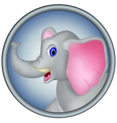 cute head elephant cartoon vector image
