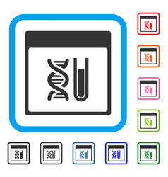 dna analysis calendar page framed icon vector image vector image