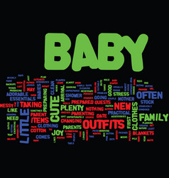 essential baby clothes and accessories text vector image