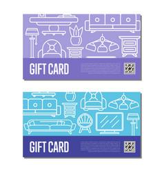 Gift voucher linear set for living room decoration vector