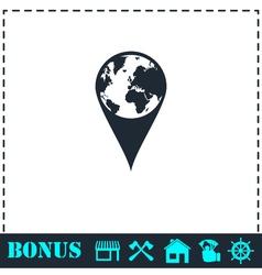Globe pin icon flat vector