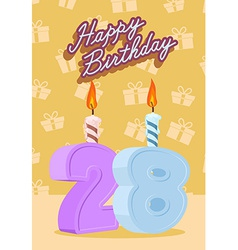 Happy birthday age 28 announcement and celebration vector