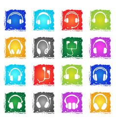 headphones icon set vector image vector image