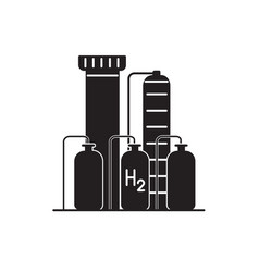 hydrogen plant silhouette icon in flat style vector image