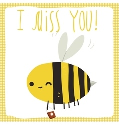 I miss you bee postcard vector