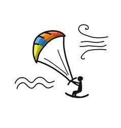 Kiteboarding sketch for your design vector