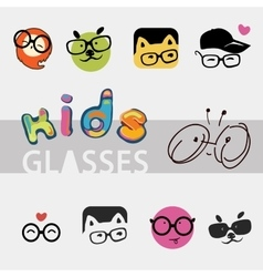 logos for children glasses vector image vector image