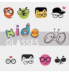 logos for children glasses vector image