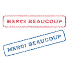 merci beaucoup textile stamps vector image vector image