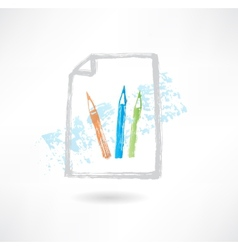 Pencil doc grunge icon vector