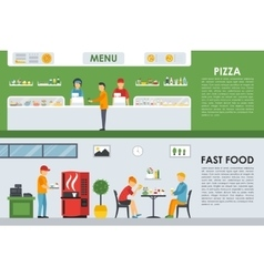 Pizza menu and fast food flat concept web vector