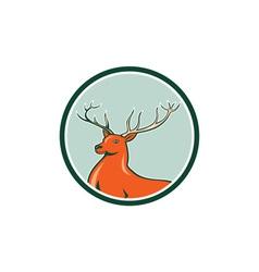 Red Stag Deer Side Circle Cartoon vector image