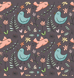 seamless pattern with birds and flowers on dark vector image
