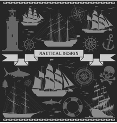 Set of ships with nautical design elements vector image vector image