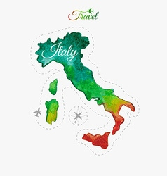 Travel around the world italy watercolor map vector