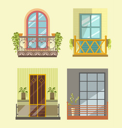 wide windows with small cozy balcony in several vector image vector image