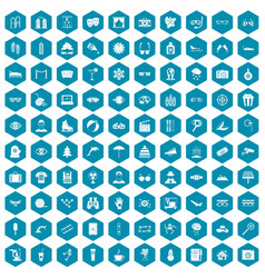 100 glasses icons sapphirine violet vector image vector image