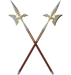 Two crossed halberds vector