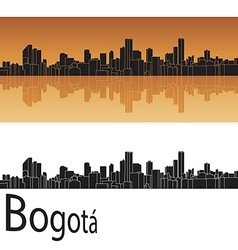 Bogota skyline in orange background vector image