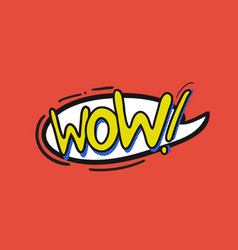 Pop art wow logo vector