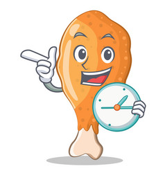 With clock fried chicken character cartoon vector