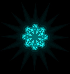 Self-illuminated cyan snowflake isolated on black vector