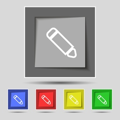 Pen icon sign on original five colored buttons vector
