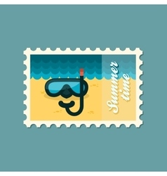 Diving mask flat stamp summertime vector