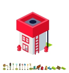 Isometric fire station building icon vector