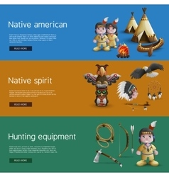 Native american banners with national attributes vector