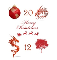 Merry christmas symbols set red color vector