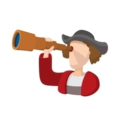 Christopher columbus costume with spyglass icon vector