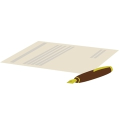 Cartoon of pen with contract vector