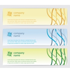 Three invitation cards with lines on background vector