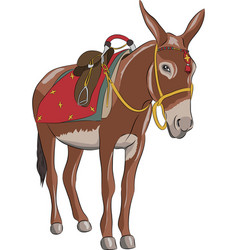A donkey with a saddle vector