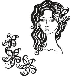 Beautiful girl with flower in her hair vector